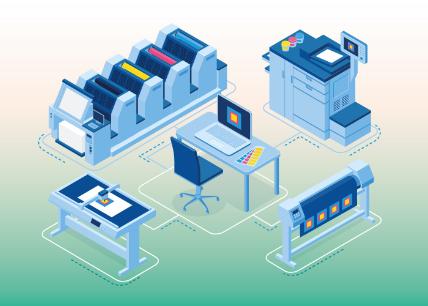 איור של סוגים שונים של מדפסות